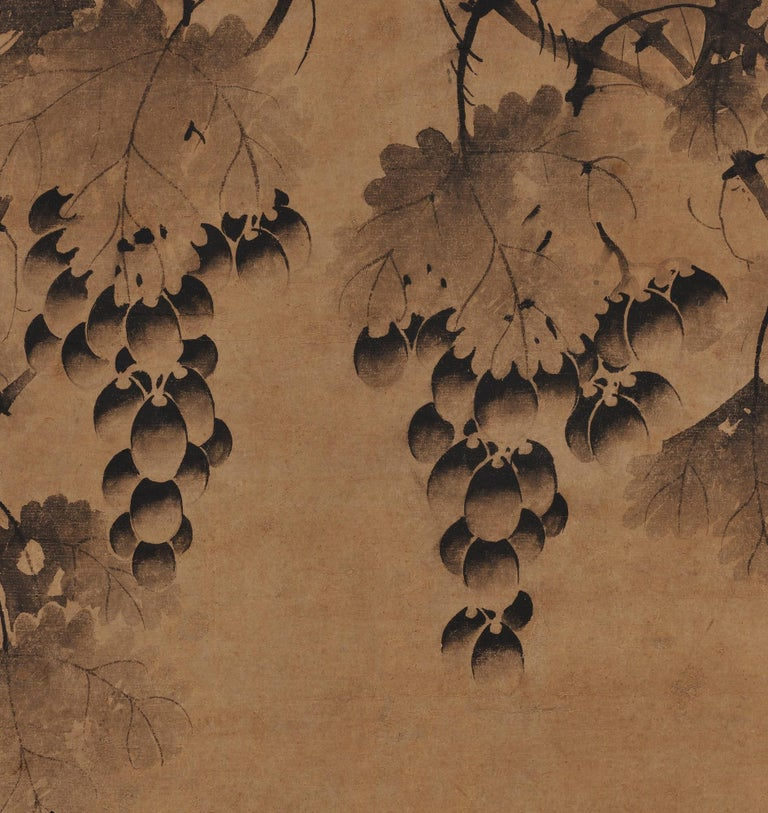 Hand-Painted Korean Grapevine Painting, Wall Panel, 17th Century For Sale
