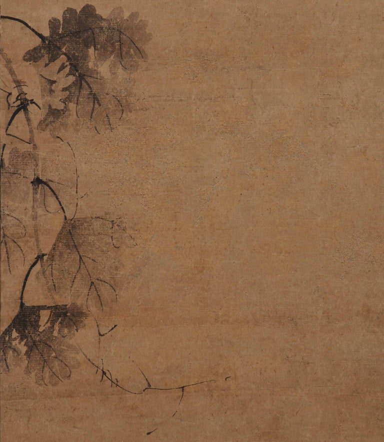 Korean Grapevine Painting, Wall Panel, 17th Century In Fair Condition For Sale In Kyoto, JP