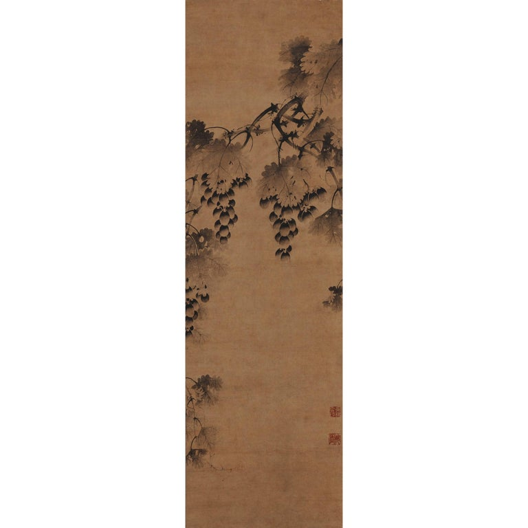 Korean Grapevine Painting, Wall Panel, 17th Century For Sale