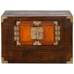 Korean Late 19th Century Wood Two-Toned Side Chest with Brass Hardware