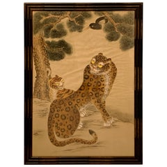 Korean Minhwa Tiger and Magpie Painting on Silk, Jakhodo, Late 19th Century