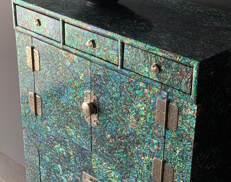 Oriental Modern Mother of Pearl Wood Chest with Rainbow Colors by Arijian For Sale 1