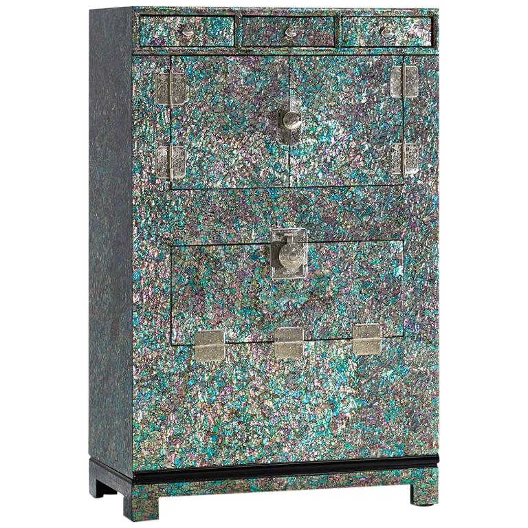 Oriental Modern Mother of Pearl Wood Chest with Rainbow Colors by Arijian For Sale