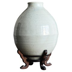 Korean Old Pottery Li Dynasty White Porcelain Vase Antique Vase
