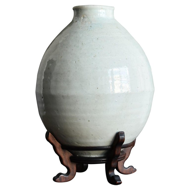Korean Old Pottery Li Dynasty White Porcelain Vase Antique Vase
