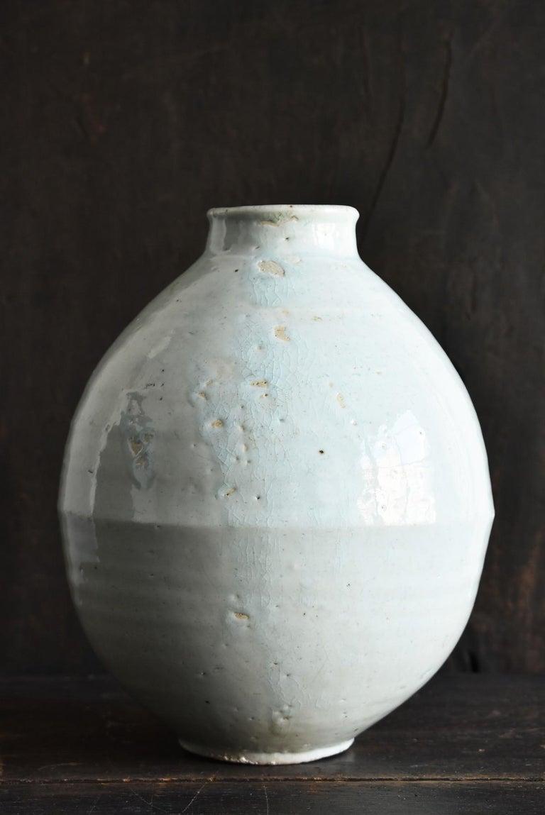 Hand-Crafted Korean Old Pottery Li Dynasty White Porcelain Vase Antique Vase