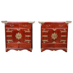 Korean Rosewood and Brass Bedside Chests or Commodes, Pair