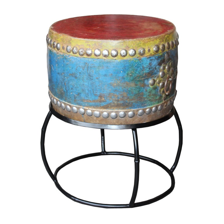 Antique Korean shaman's drum on contemporary custom made stand. Used for ceremonies, rituals and folk dancing in villages to promote positive outcome. Colorful drum sits on a metal stand.