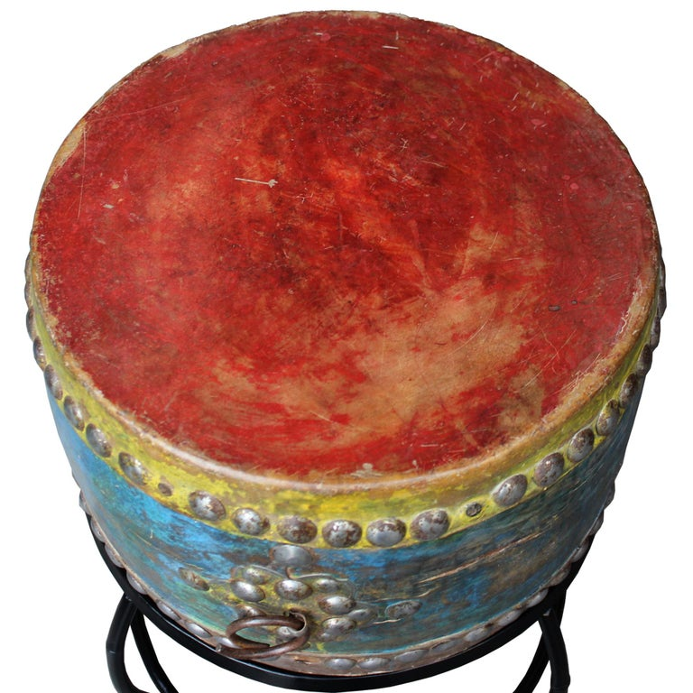 Korean Shaman's Drum on Stand In Good Condition In San Francisco, CA