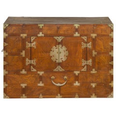 Korean Side Cabinet with Geometric Façade, Brass Hardware and Double Doors