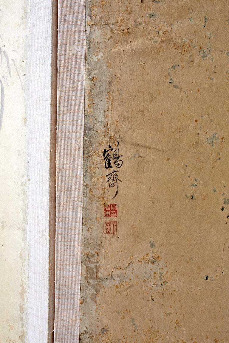 Korean Six-Panel Screen of Legendary Chinese Figures For Sale 5