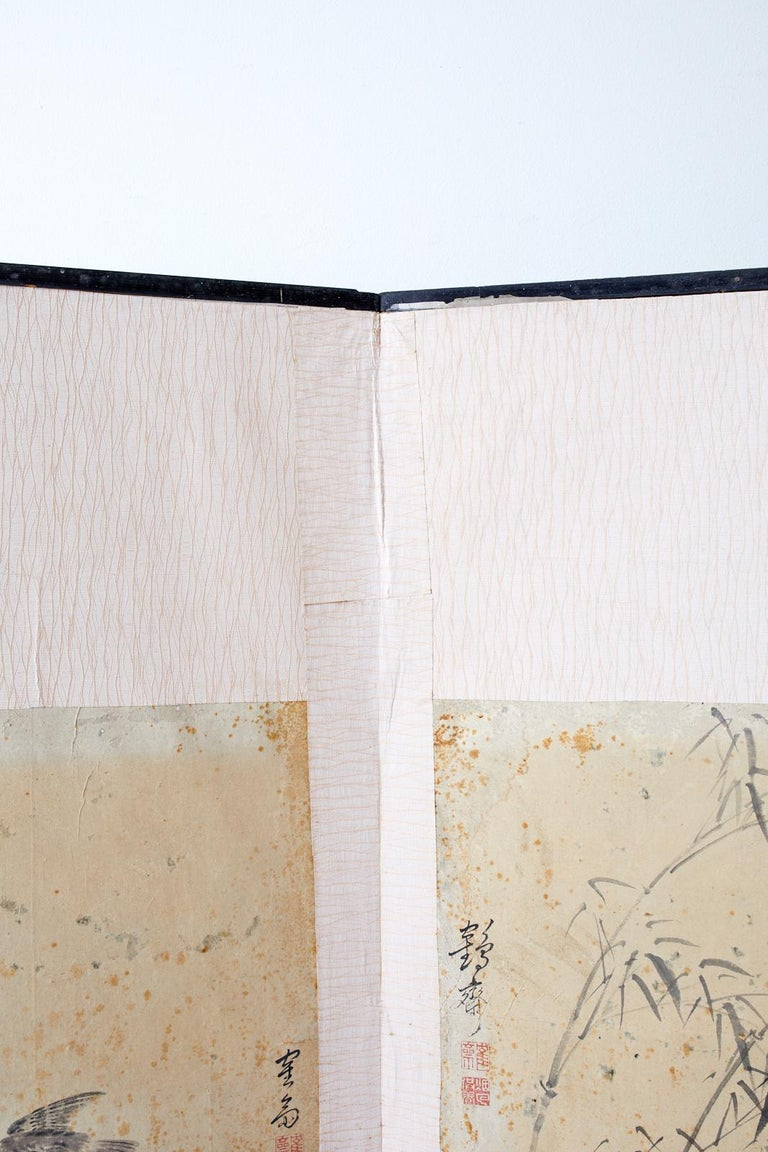 Korean Six-Panel Screen of Legendary Chinese Figures For Sale 7