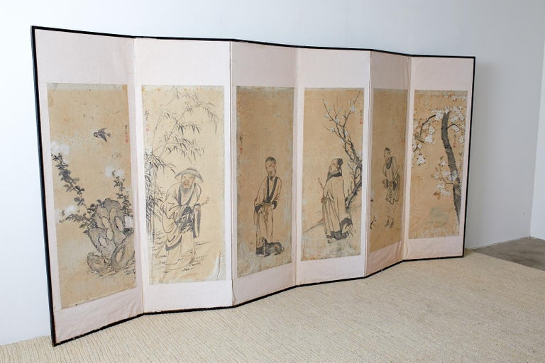 Meiji period Korean six-panel screen depicting legendary Chinese figures on individual panels with birds and blossoming flowers. Each panel is signed Kakusai (studio of the crane) in Japanese with a seal. Ink and color pigments on paper mounted to