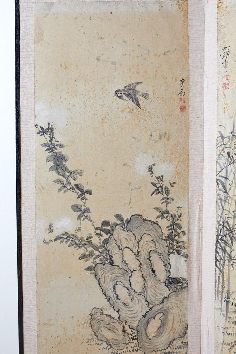 Meiji Korean Six-Panel Screen of Legendary Chinese Figures For Sale