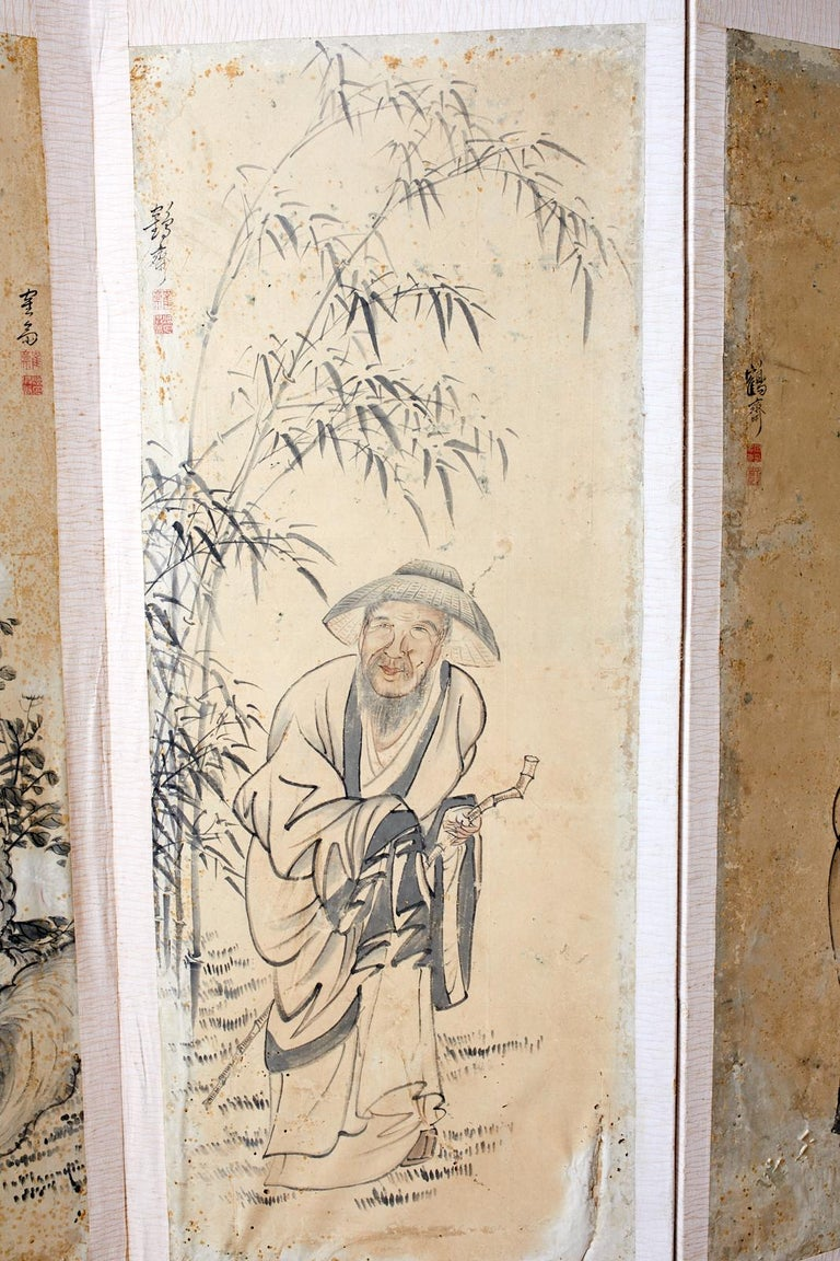 Lacquered Korean Six-Panel Screen of Legendary Chinese Figures For Sale