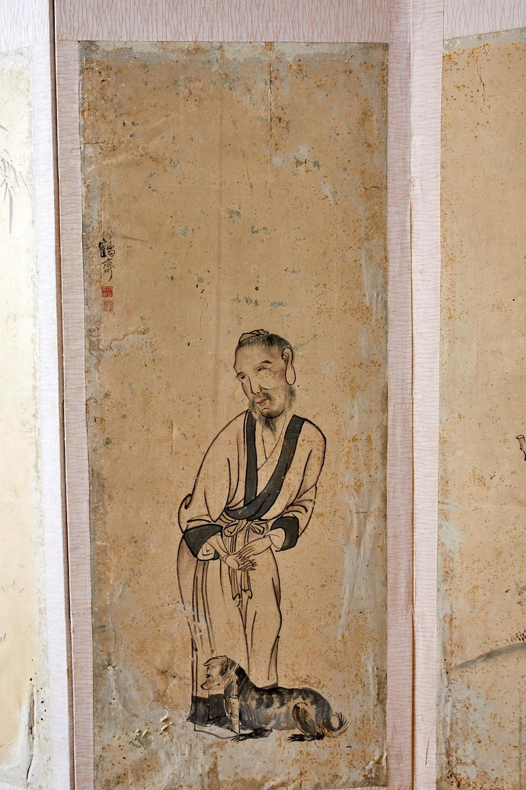 Korean Six-Panel Screen of Legendary Chinese Figures In Distressed Condition For Sale In Oakland, CA