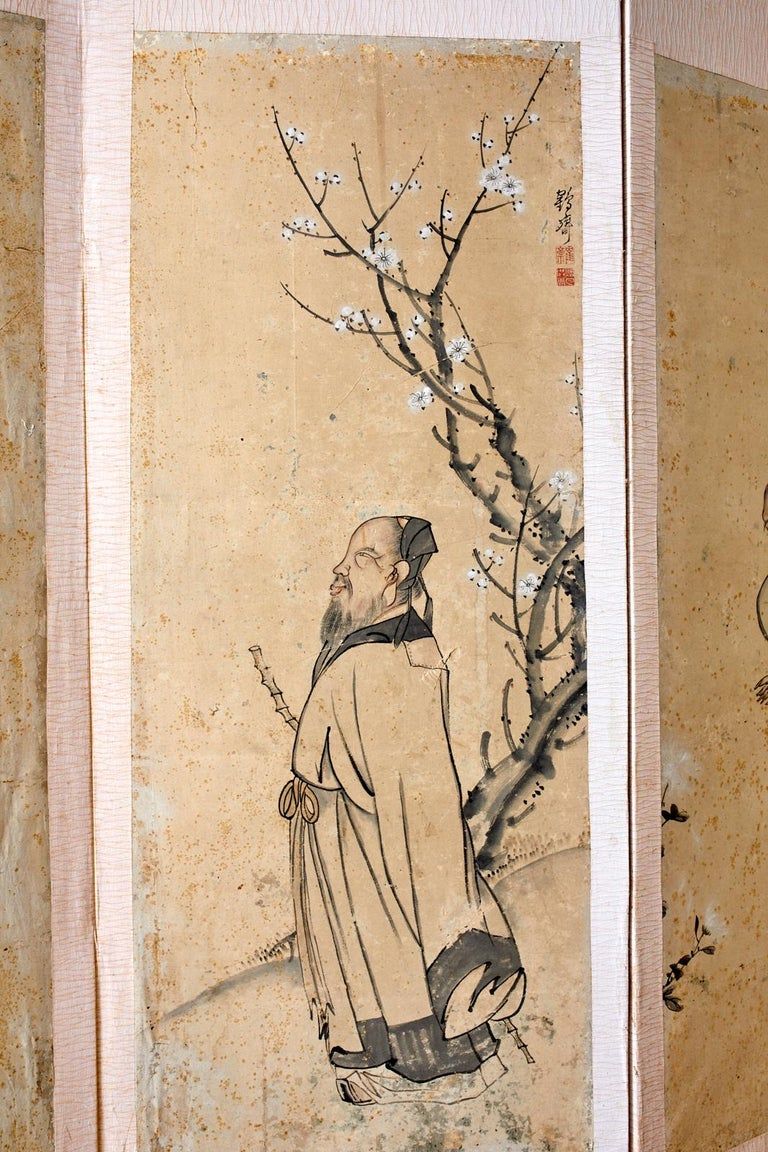20th Century Korean Six-Panel Screen of Legendary Chinese Figures For Sale