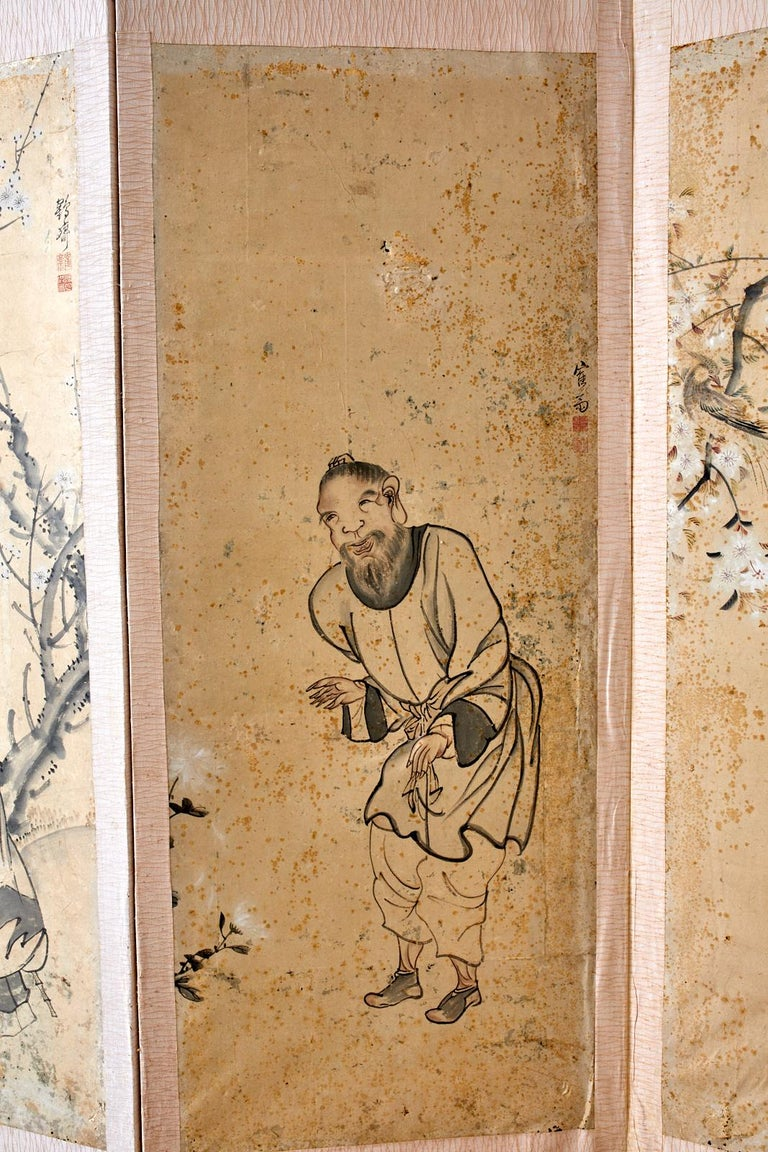 Wood Korean Six-Panel Screen of Legendary Chinese Figures For Sale