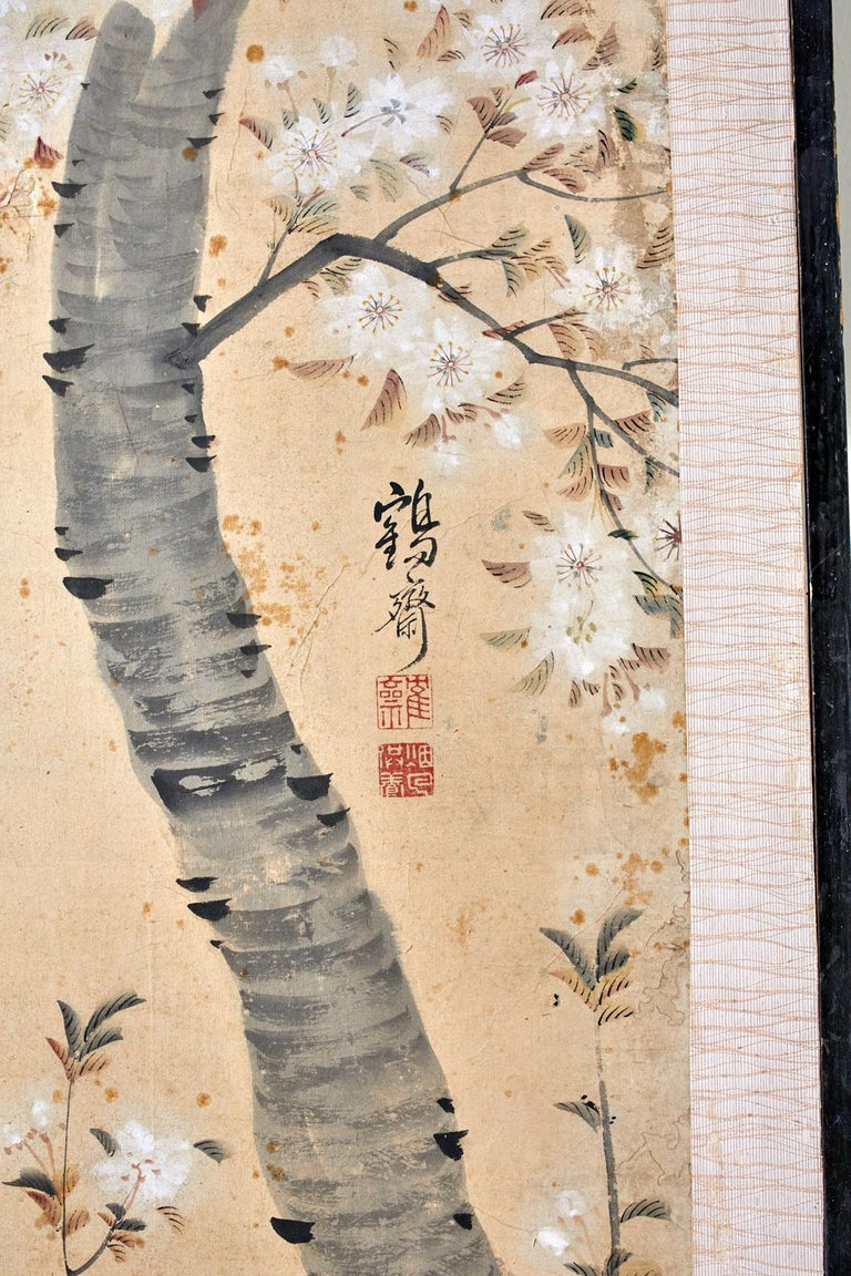 Korean Six-Panel Screen of Legendary Chinese Figures For Sale 2