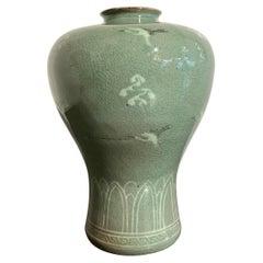 Korean Slip Inlaid Celadon Maebyeong Vase, Mid 20th Century