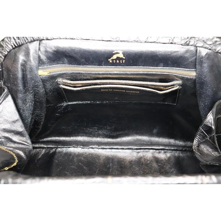 Koret Black Alligator Large Top Handle Bag  For Sale 7