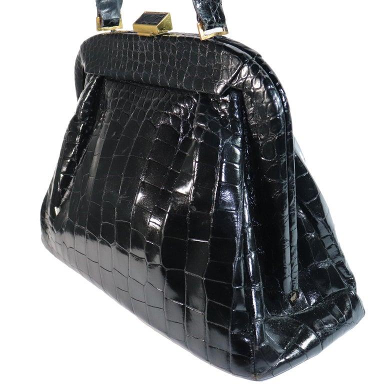 Koret Black Alligator Large Top Handle Bag  In Excellent Condition For Sale In Los Angeles, CA