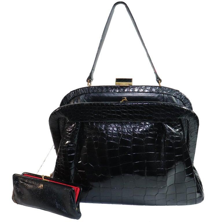Koret Black Alligator Large Top Handle Bag  For Sale 1