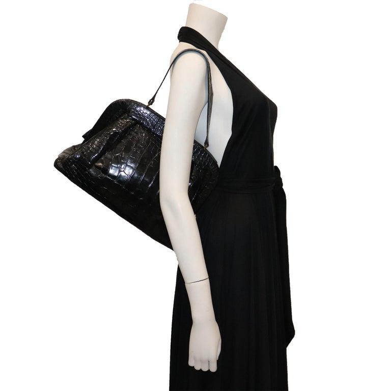 Women's Koret Black Alligator Large Top Handle Bag  For Sale