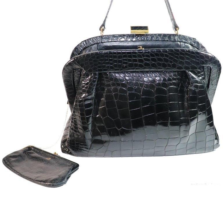 Koret Black Alligator Large Top Handle Bag  For Sale 2