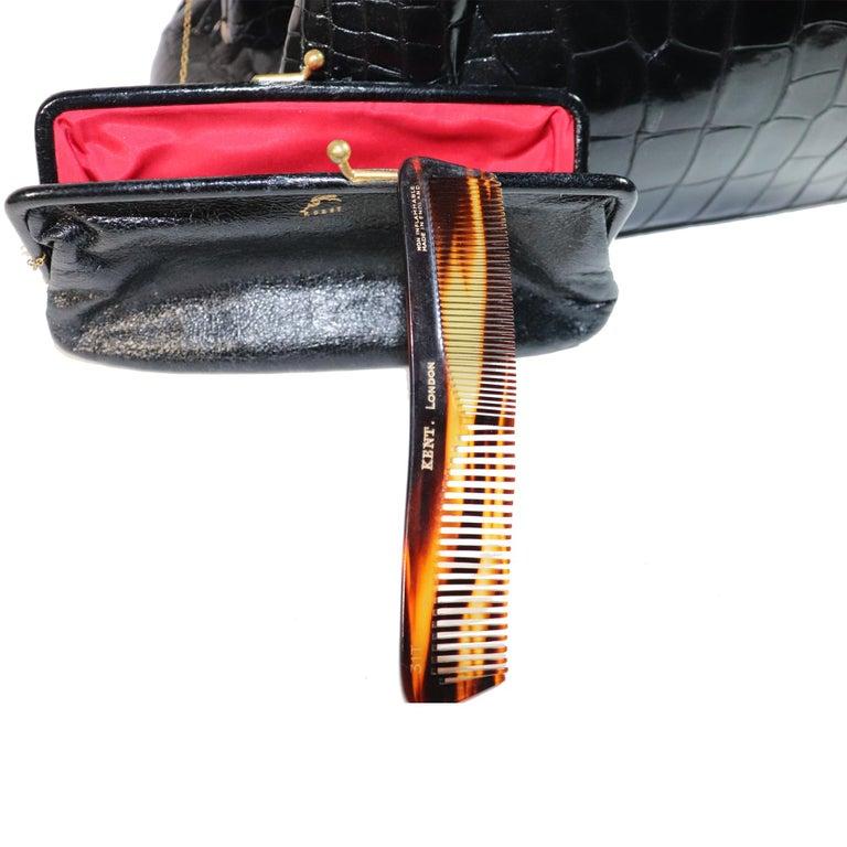 Koret Black Alligator Large Top Handle Bag  For Sale 3