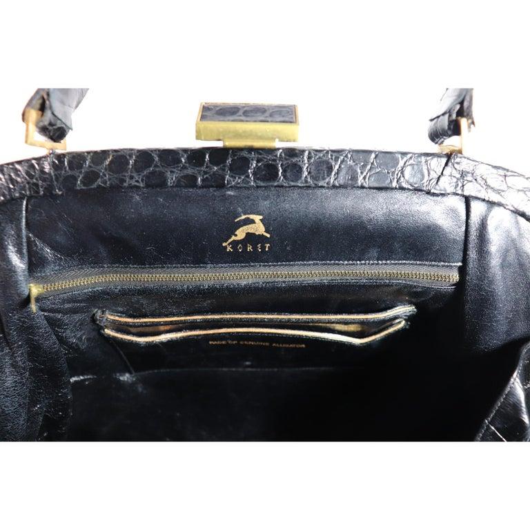 Koret Black Alligator Large Top Handle Bag  For Sale 5
