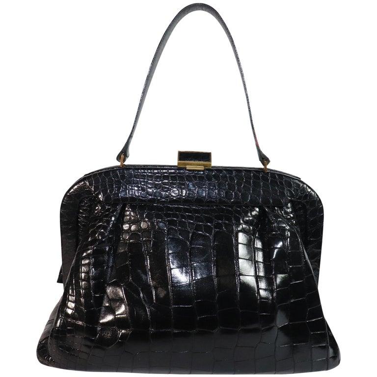 Koret Black Alligator Large Top Handle Bag  For Sale