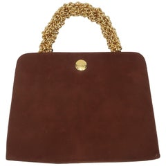 Koret Brown Suede Handbag With Chunky Gold Chain Handle, 1960's