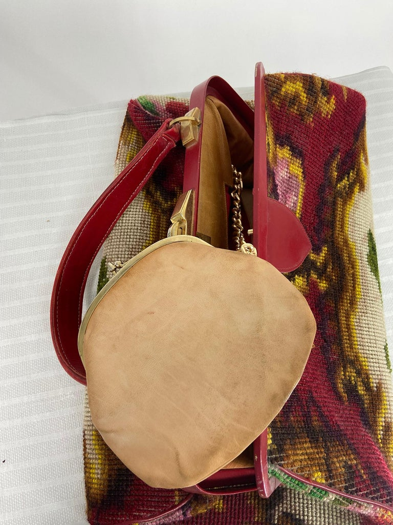 Koret Roses Frame Carpet Bag Rare 1960s Leather Interior Handbag For Sale 5