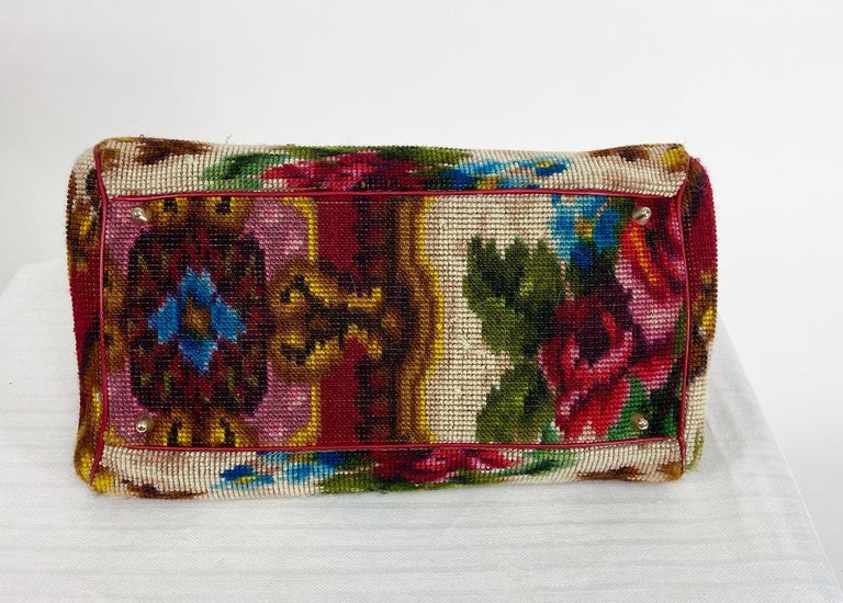 Koret roses frame carpet bag, rare 1960s leather interior handbag. From the Koret 1960s rose carpet luggage collection, originally offered in red or black. This luggage was made in Italy from actual needle point wool carpet. This Victorian style