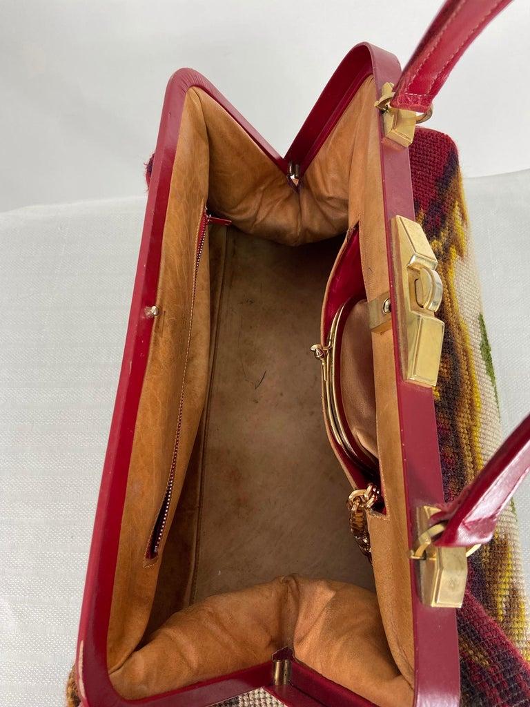 Women's Koret Roses Frame Carpet Bag Rare 1960s Leather Interior Handbag For Sale