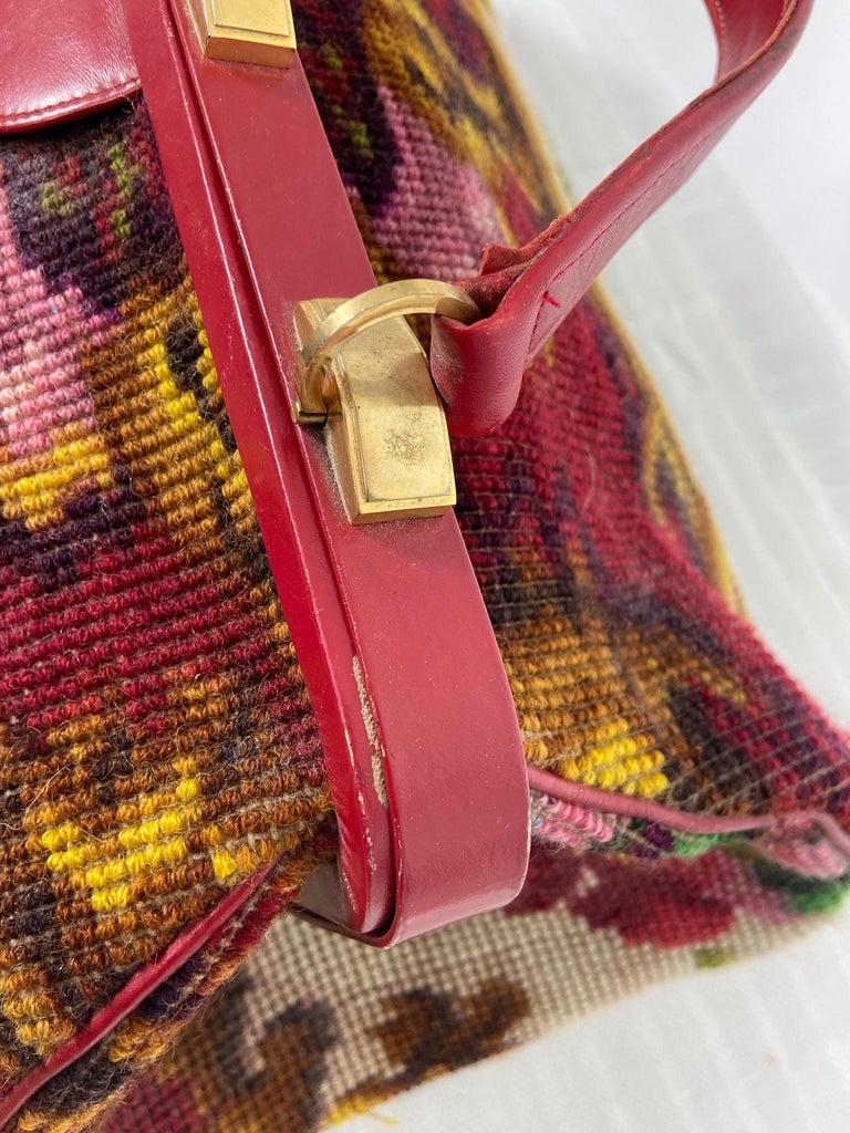 Koret Roses Frame Carpet Bag Rare 1960s Leather Interior Handbag For Sale 3