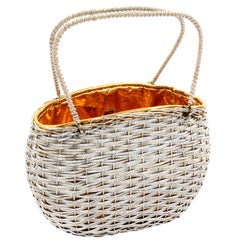 Koret Vintage Handbag in Gold & Silver Woven Metal Top Handle Day or Evening Bag