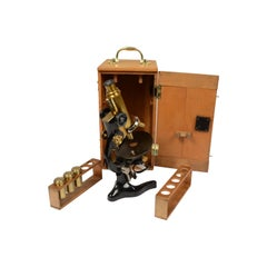 Koristka Milan Microscope Made of Black Painted Brass, Early 1900s