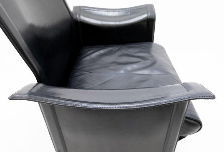 Mid-Century Modern Korium Leather Armchair Tito Agnoli For Sale