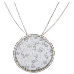 Korloff 18 Karat White Gold Diamond and Mother of Pearl Round Pendant Necklace