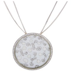 Korloff 18K White Gold Diamond and Mother of Pearl Large Round Pendant Necklace