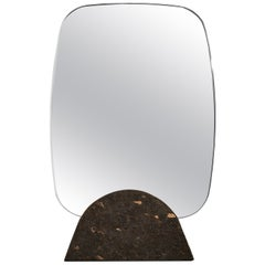 Kormirò Table Mirror in Black Cork and Extra Light Mirror by Discipline Lab
