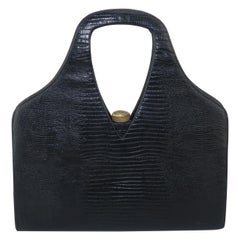 Koro Creation Black Lizard Skin Handbag, 1950's