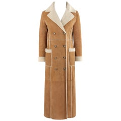 KORS by MICHAEL KORS Tan Suede Shearling Fur Double Breasted Full Length Coat