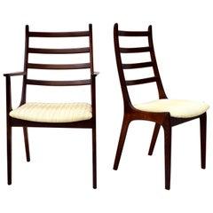 Korup Stolefabrik Rosewood Ladderback Danish Dining Chairs