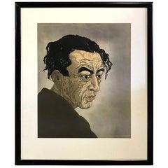 Koshiro Onchi Japanese Woodblock Print Portrait of the Poet Hagiwara Sakutaro