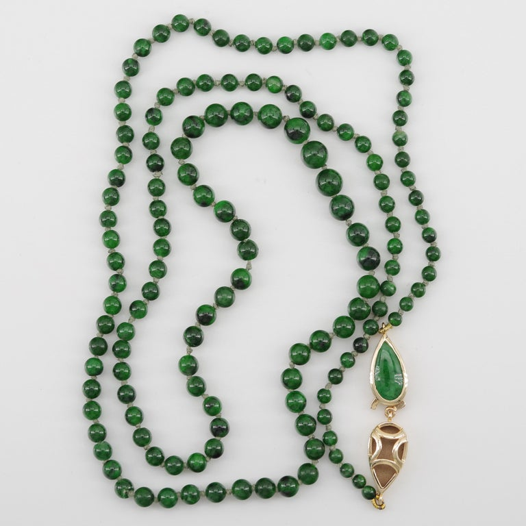Contemporary Kosmochlor-Jadeite Jade Beaded Necklace or Bracelet For Sale