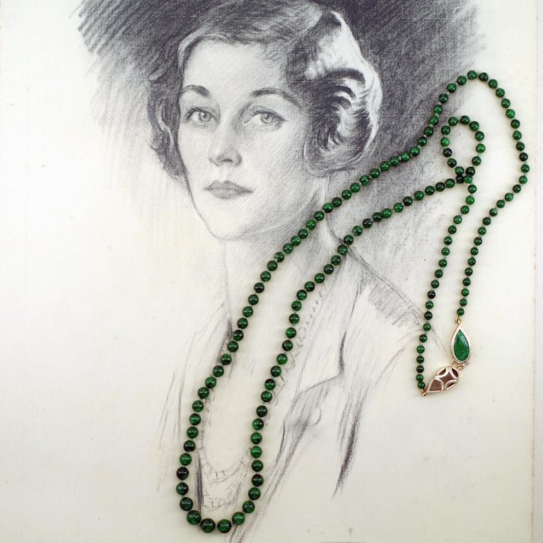 Kosmochlor-Jadeite Jade Beaded Necklace or Bracelet For Sale 3