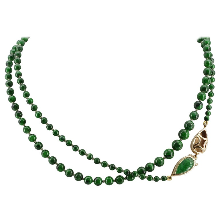 Kosmochlor-Jadeite Jade Beaded Necklace or Bracelet For Sale
